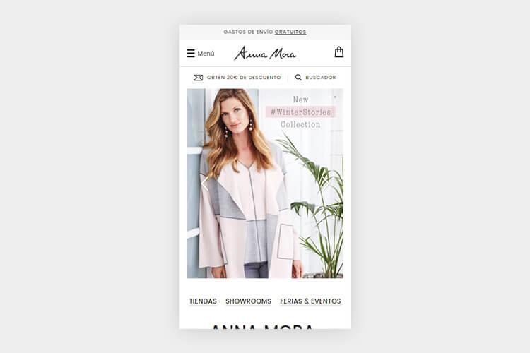 Navegación superior de la tienda online Anna Mora