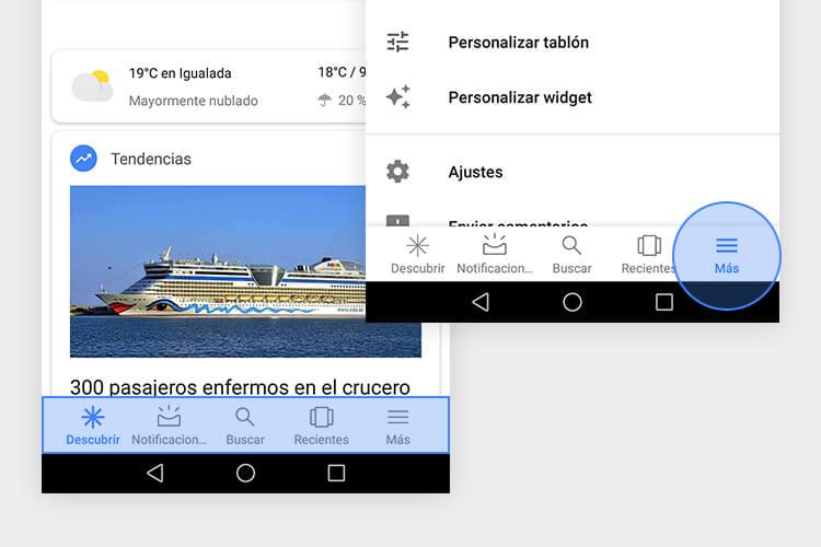 Detalle de la navegación inferior Priority+ de Google