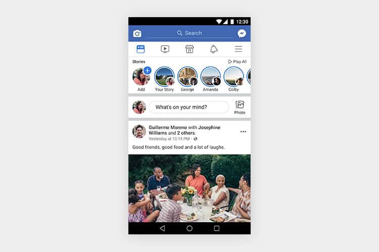 Navegación Priority+ superior en Facebook