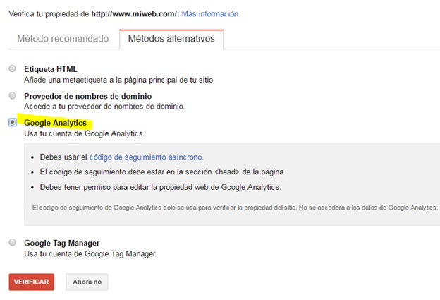 Confirmar Search Console