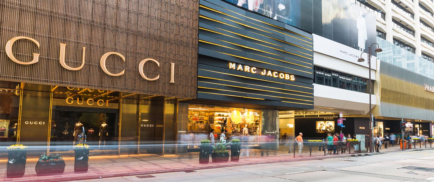 A caption of several luxury stores Hong Kong retail